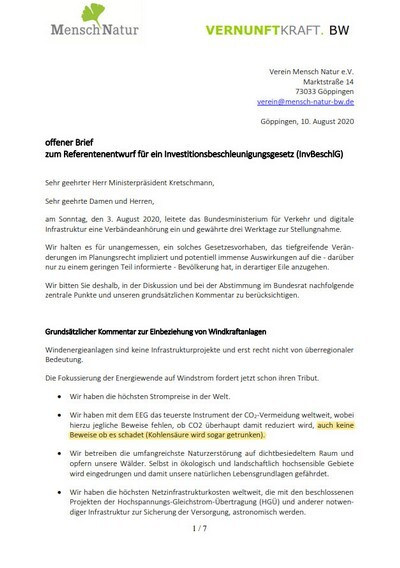 Vernunftkraft Brief gegen Windkraft